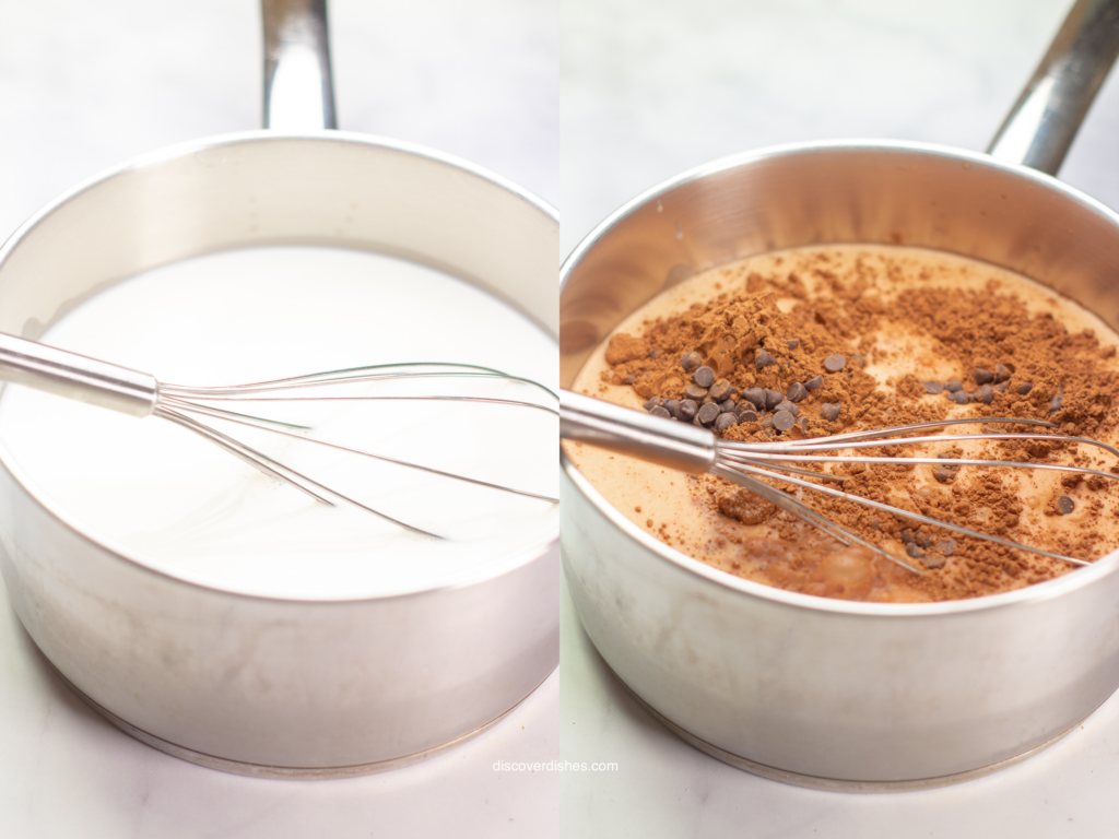 Two images showing the process of heating milk, and incorporating cocoa powder into hot chocolate.